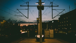 Preview wallpaper berlin, night city, post, urban infrastructure, wire