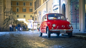 Preview wallpaper 500px, fiat, front view, red