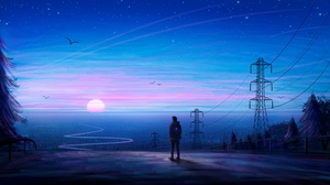 Preview wallpaper art, horizon, loneliness, silhouette, view