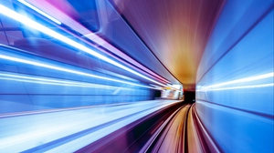 Preview wallpaper backlight, line, speed, tunnel, turn