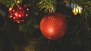 Preview wallpaper ball, christmas, christmas decoration, christmas tree, new year, red, sequins
