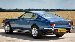 Preview wallpaper 1972, aston martin, blue, car, nature, rear view, saloon, v8
