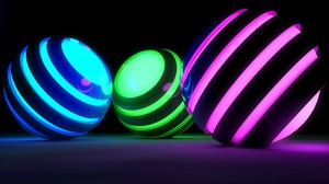 Preview wallpaper balls, bands, bright, glow