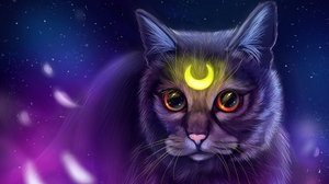 Preview wallpaper art, cat, glance, glow, symbol