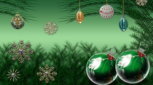 Preview wallpaper celebration, christmas, christmas decorations, new year, pine needles, snowflakes
