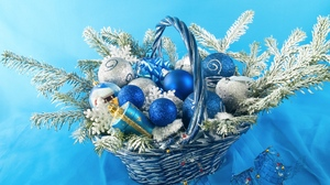 Preview wallpaper basket, christmas, new year, spheres, toys