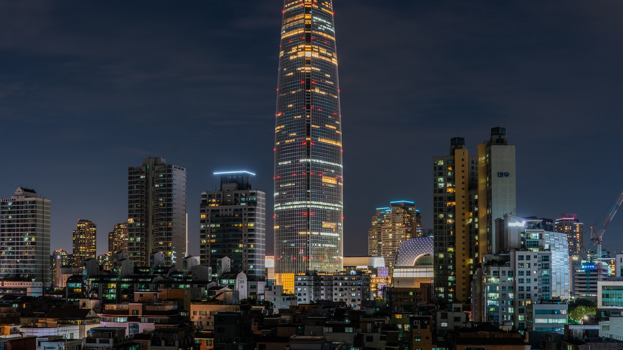 city buildings night backlight architecture tower