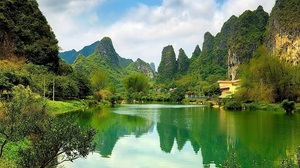 Preview wallpaper china, coast, mountains, pond, surface, water, woods
