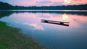 Preview wallpaper bench, decline, evening, lake, surface, water
