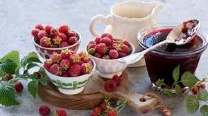 Preview wallpaper dishes, fruit, jam, raspberry