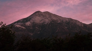 Preview wallpaper dusk, mountain, purple, sky, trees