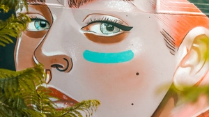 Preview wallpaper art, face, girl, graffiti, street art
