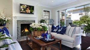 Preview wallpaper apartment, bottle, bouquets, chairs, fireplace, flowers, glasses, house, interior, painting, pillows, sofa, table, window