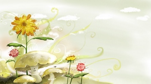 Preview wallpaper flowers, mushrooms, nature, paint, painting