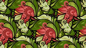 Preview wallpaper doodles, flowers, green, patterns, red