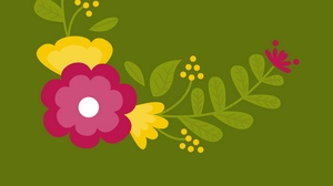 Preview wallpaper art, branches, flowers, leaves, vector