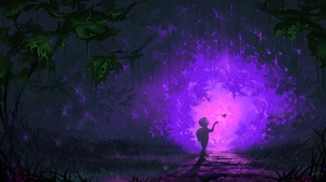 Preview wallpaper art, butterfly, child, fantastic, forest, portal