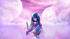 Preview wallpaper clouded sadness, girl, moon, sword, water, wounds