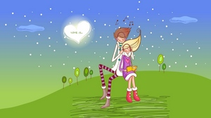 Preview wallpaper couple, date, drawing, grass, love