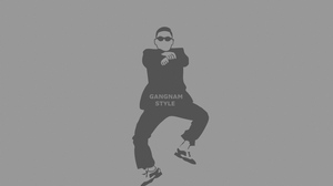 Preview wallpaper dancing, gangnam style, glasses, gray background, people, psy, sign