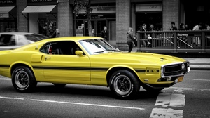 Preview wallpaper ford mustang, gt, muscle car, side view, yellow