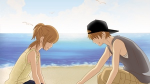Preview wallpaper beach, boy, girl, heart, love, pictures, sand