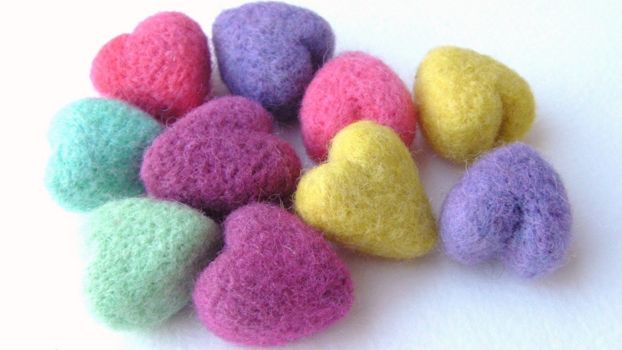 hearts colorful form threads balls