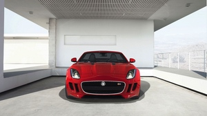 Preview wallpaper f-type, front view, jaguar, red