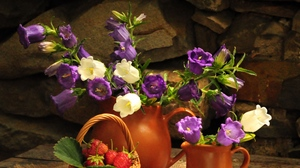 Preview wallpaper basket, flowers, jugs, stone, strawberry, table