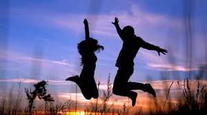 Preview wallpaper couple, grass, jump, night, shadow, silhouette