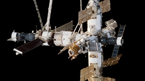 Preview wallpaper building, iss, laboratory, solar panels, space