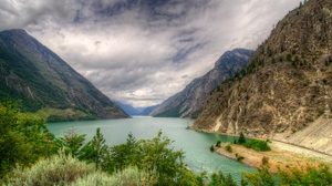 Preview wallpaper canada, hdr, lake, landscape, mountain, nature, seton lillooet