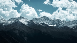 Preview wallpaper clouds, landscape, mountains, peaks, snowy