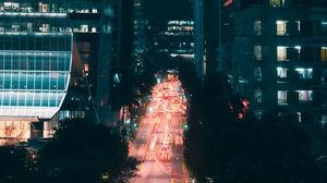 Preview wallpaper aerial view, buildings, lights, night city, road, street