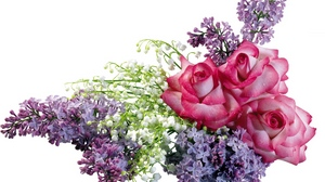 Preview wallpaper bouquet, lilacs, lilys of the valley, rose, spring