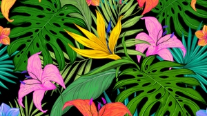 Preview wallpaper colored, flowers, leaves, lilies, palm leaves, pattern, tropical