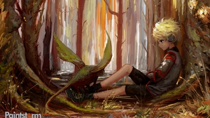 Preview wallpaper art, child, forest, loneliness, trees