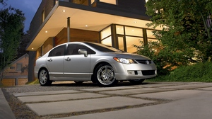 Preview wallpaper acura, building, cars, csx, metallic silver, sedan, side view, style, tree, type-s