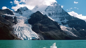 Preview wallpaper clouds, day, glacier, height, lake, mountains, snow
