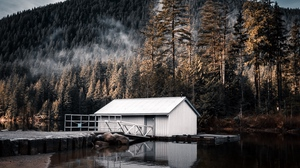 Preview wallpaper forest, house, lake, mountain, nature