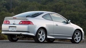 Preview wallpaper acura, cars, forest, nature, rsx, side view, silver metallic, style