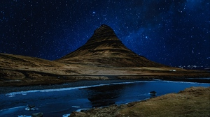 Preview wallpaper hill, night, river, starry sky