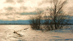 Preview wallpaper cold, landscape, north, snow, steppe, sunset, wind, winter