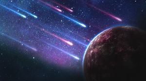 Preview wallpaper galaxy, meteorites, planet, space