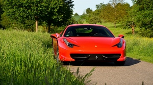 Preview wallpaper ferrari 458, front view, red