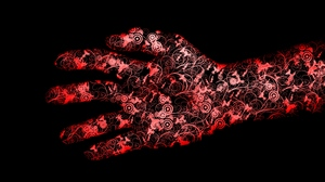 Preview wallpaper black, flowers, hand, red