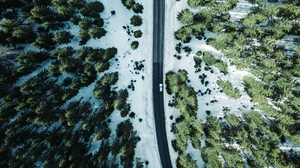 Preview wallpaper aerial view, forest, road, snow, trees