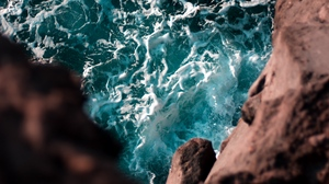 Preview wallpaper cliff, height, sea, water, waves
