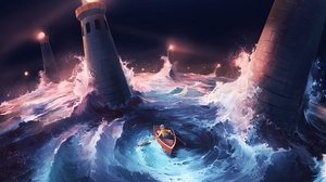 Preview wallpaper art, boat, lighthouses, sea, storm