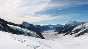 Preview wallpaper landscape, mountains, snow, solarly